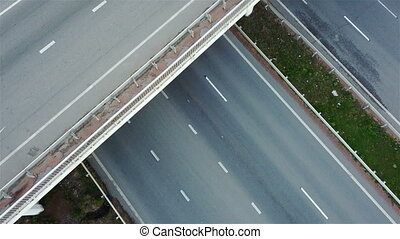 Aerial shot of highway junction with cars top view
