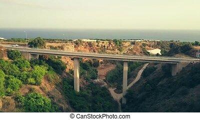 Aerial shot of historic Acueducto del Aguila or Eagle...