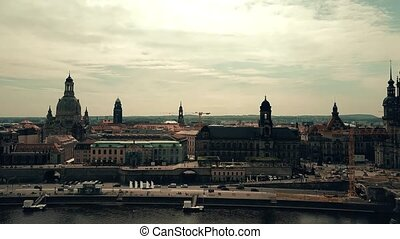 Aerial shot of historic buildings in Dresden center as seen from the Elbe river