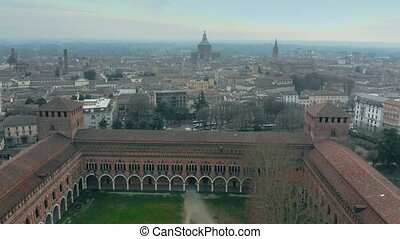Aerial shot of historic Castello Visconteo or Visconti...
