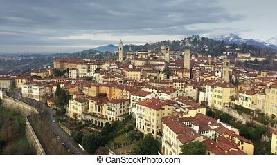 Aerial shot of historic part of Bergamo. Italy