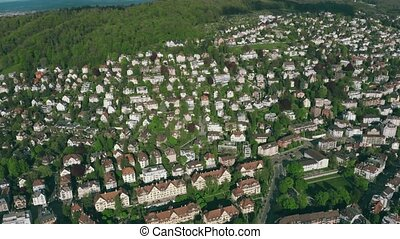 Aerial shot of houses in residential area of Zurich. Switzerland