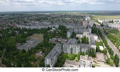 Aerial shot of hundreds multistoreyed buildings in Kherson...