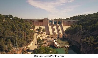 Aerial shot of hydroelectric power plant dam - Aerial view...