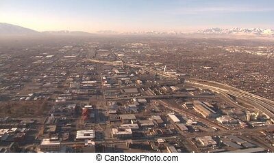 aerial shot of industrial area of Salt Lake City in winter