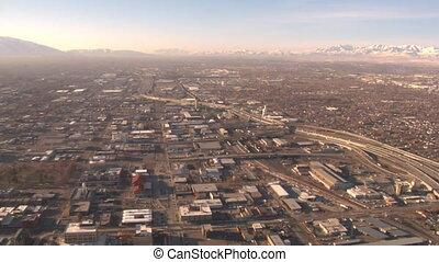 aerial shot of industrial area of Salt Lake City in winter