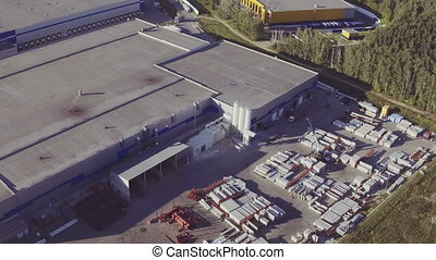 Aerial Shot of Industrial Warehouse