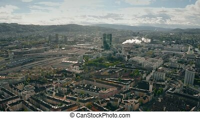 Aerial shot of Industriequartier district in Zurich,...