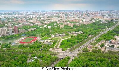 Aerial shot of intersection of Kosygina street and Vernadsky prospekt in Moscow. South western wealthy part of the city. 4K video