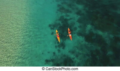Aerial shot of kayaks