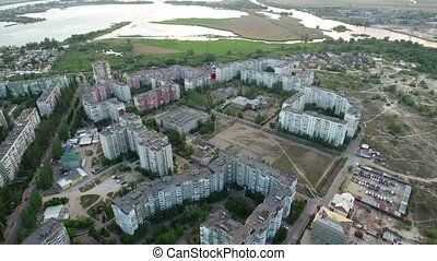 Aerial shot of Kherson city and the Dnipro riverbank in a sunny day in summer