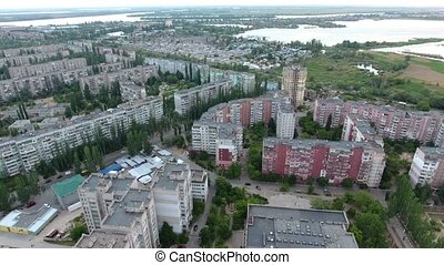 Aerial shot of Kherson city multistoreyed buildings and...