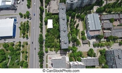 Aerial shot of Kherson city, its multistoreyed buildings,...