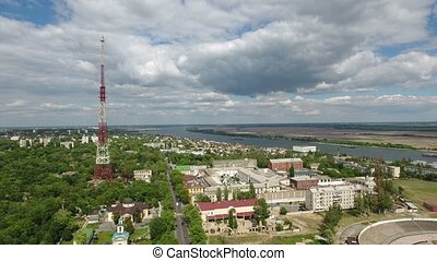 Aerial shot of Kherson city with a TV tower, apartmant...