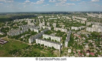 Aerial shot of Kherson city with splendid cityscape and...
