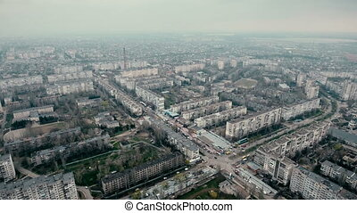 Aerial shot of Kherson city with its modern buildings and...