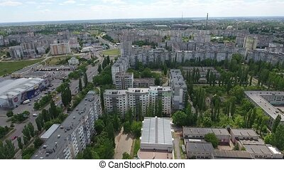 Aerial shot of Kherson city with its impressive cityscape...