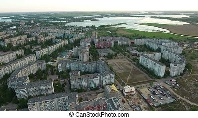 Aerial shot of Kherson cityscape and riverscape in a sunny day in summer