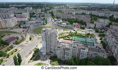 Aerial shot of Kherson with a big round intersection in a...