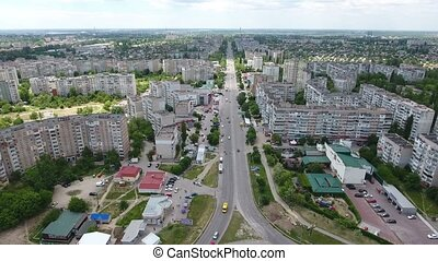 Aerial shot of Kherson with its modern buildings and a...