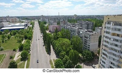 Aerial shot of Kherson with its impressive skyscape and...