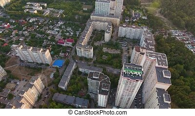 Aerial shot of Kiev cityscape with multistoried buildings on a sunny day