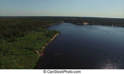 Aerial shot of lake and beach - Aerial shot of lake shot