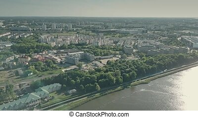Aerial shot of Lake Malta and Poznan citycape, Poland -...