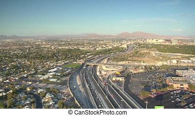 aerial shot of Las Vegas freeway daytime