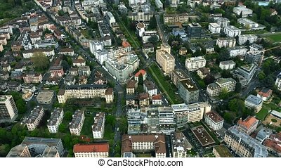 Aerial shot of Lausanne centre, Switzerland - Aerial shot of...