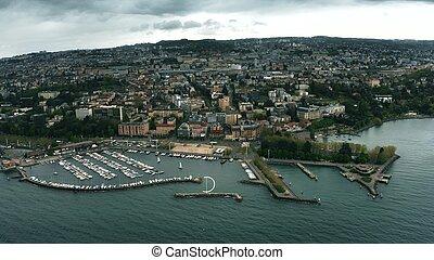 Aerial shot of Lausanne, Switzerland