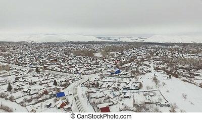 Aerial shot of little city