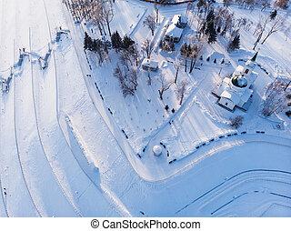 Aerial shot of main view to Barnaul city