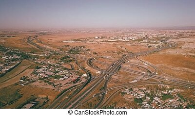 Aerial shot of major highway interchange - Aerial view of...