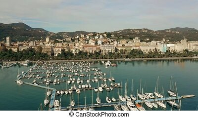 Aerial shot of marina and seafront buildings in La Spezia....