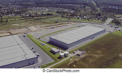 Aerial Shot of Modern Industrial Warehouse