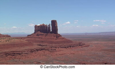 aerial shot of Monument Valley Butte close-up