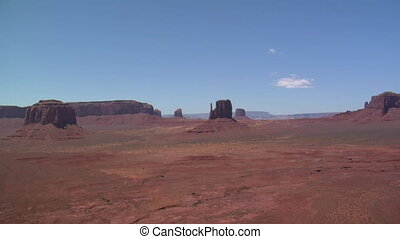 aerial shot of Monument Valley mittens wobbly