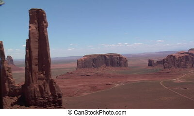 aerial shot of Monument Valley spires