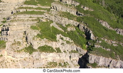 aerial shot of mountain cliffs