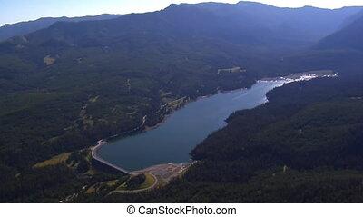 aerial shot of Mountain Lake
