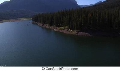 aerial shot of Mountain Lake with fishermen