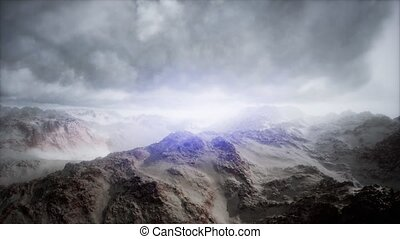 Aerial shot of mountain peak