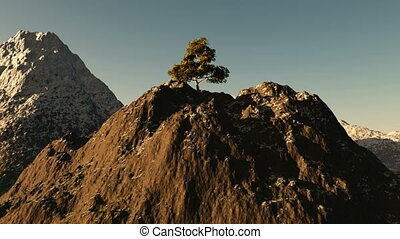Aerial shot of mountain peak with