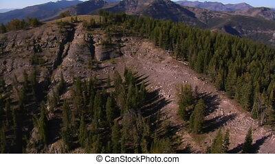 aerial shot of mountain peaks