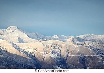 Aerial shot of mountain range