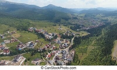 Aerial: shot of mountain side. Ukraine