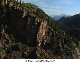 aerial shot of mountainous cliffs