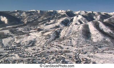 aerial shot of mountains near Park city Utah