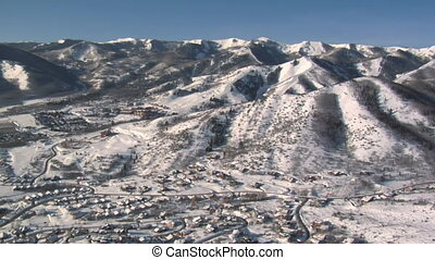 aerial shot of mountains near Park city Utah